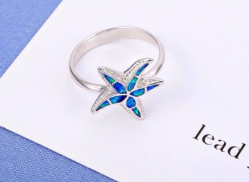 Starfish Blue Opal Ring