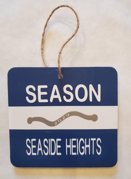 "Handmade Jersey Shore Beach Badge Christmas Ornaments approximately 3 3/4 x 3 1/4 x 1/4"" thick"