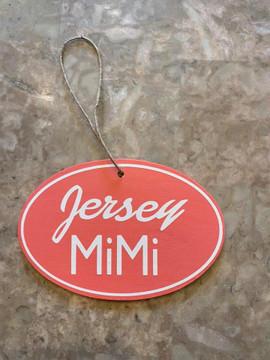 """Handmade oval pink Jersey MiMi ornament 3"""" x 4.5"""""""