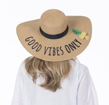 """Good Vibes Only Sun Hats floppy oversized sun hat for women width measures 18"""""""