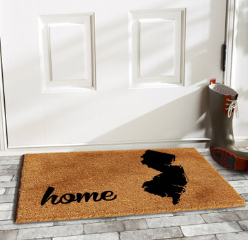 """NJ Home Doormat   17"""" L x 29"""" W   Made of natural coir, a dense fiber that is naturally mold and mildew resistant. Coir is a renewable resource that is durable and coarse, excellent for scraping shoes clean. Vinyl backed for increased durability and to help prevent movement, coir doormats are weather tolerant absorb  and retain their shape. For best results keep in a sheltered area such as a covered porch, keeping extreme moisture and sunlight to a minimum, vacuum, sweep or lightly hose clean."""