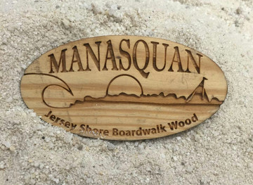 Manasquan Authentic Jersey Shore Boardwalk Wood Magnet
