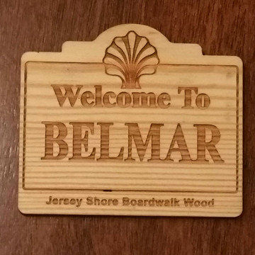 Welcome To Belmar Authentic Jersey Shore Boardwalk Wood Magnet