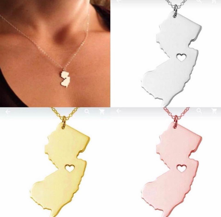 NJ State Rose Gold Necklace