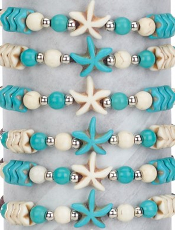 Howlite Stone Starfish Adjustable Slide-Knot Bracelet Assorted