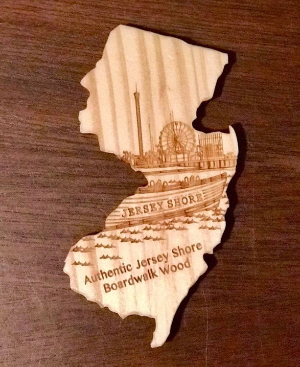 "BIG New Jersey Ferris Wheel - Magnet is BIG 4"" magnet in the shape of the Garden State and is produced from wood Jersey Shore Boardwalk wood."
