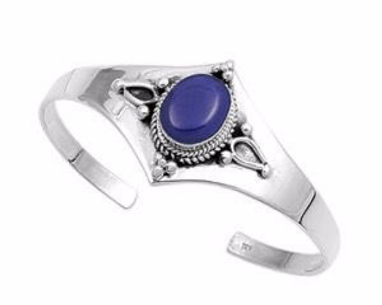 Sterling Silver Lapis Bangle