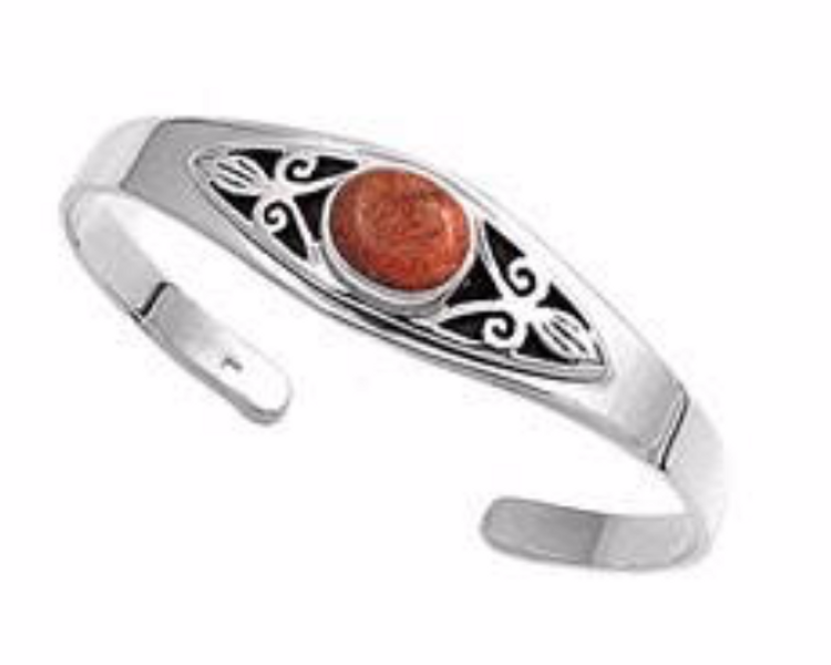 Sterling Silver Coral Bangle
