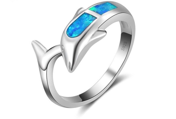 Sterling Silver Opal Dolphin Ring