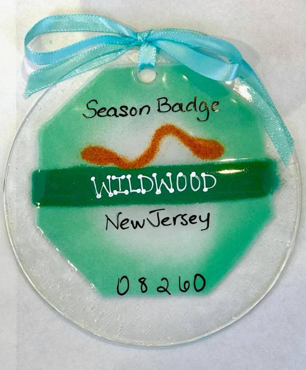 Handmade Wildwood Beach Badge Sun Catcher/ Ornament