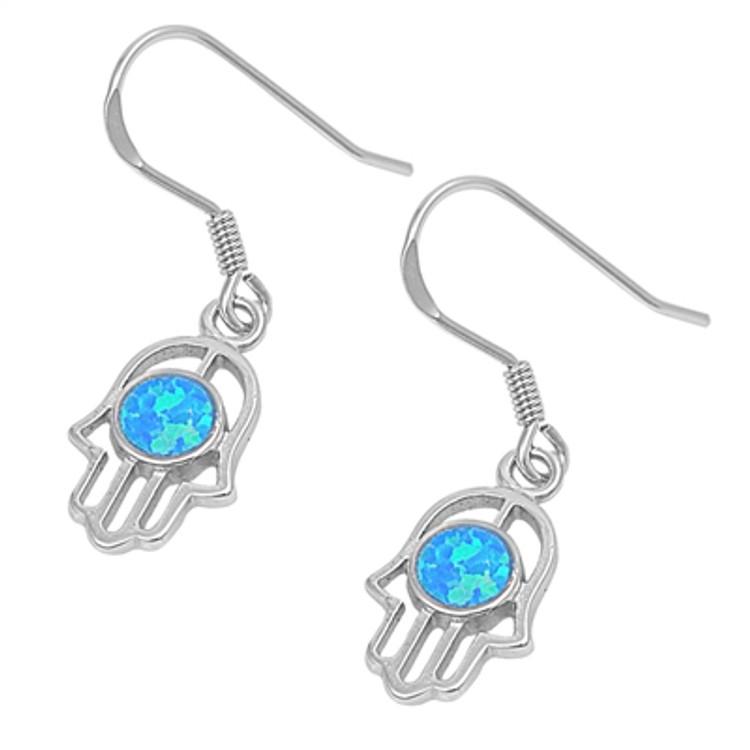 Sterling Silver Lab Opal Hamasa Earrings