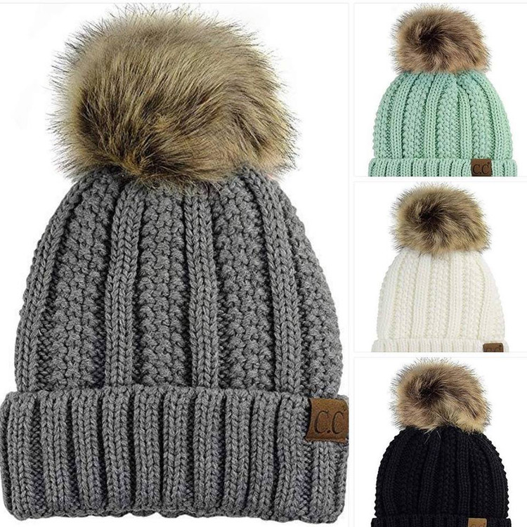 C.C Thick Cable Knit Faux Fuzzy Fur Pom