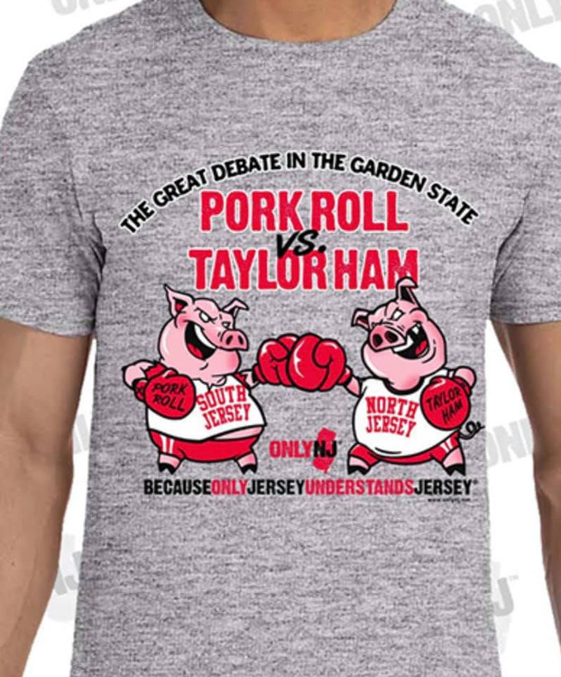 "100% Cotton Heavyweight T-Shirt with High Quality Silkscreened Image featuring the ""Great Debate in the Garden State"", Is it Pork Roll or is it Taylor Ham?"