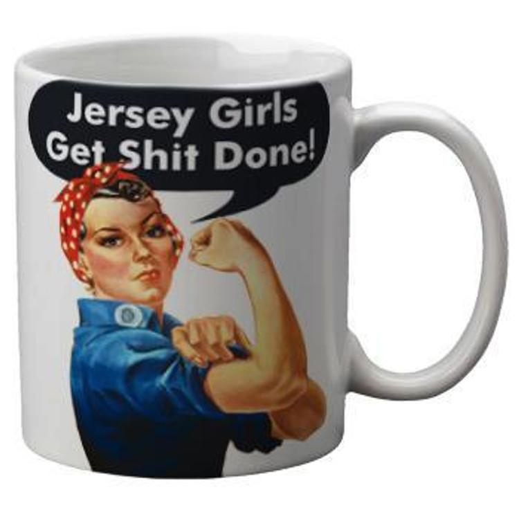 Jersey girls get shit done and look good doin' it!  All of our 11 ounce mugs are dye sublimated by hand to to ensure a long lasting and vibrant print. Suitable for all warm beverages and alcoholic concoctions - we don't judge.
