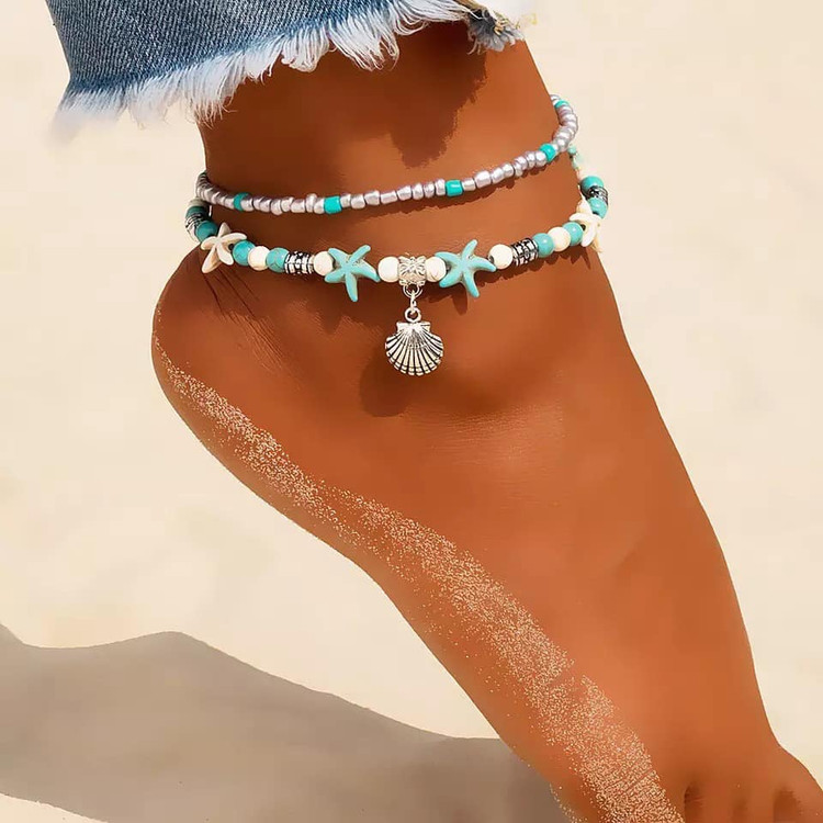 Starfish Shell Bohemian  Anklet