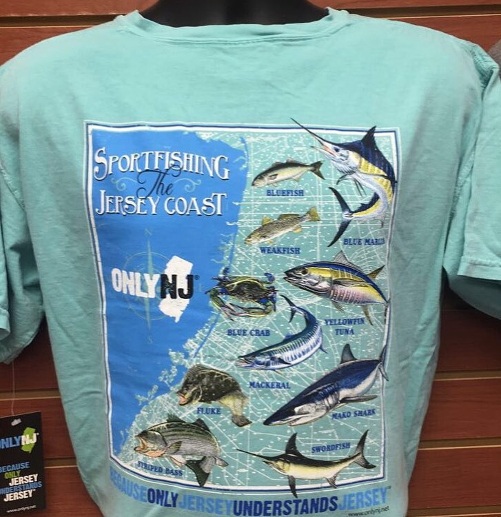 100% Cotton Heavyweight Pigment Dyed T-Shirt with High Quality Silk screened Image featuring the Saltwater Fish caught along the Jersey Shore!