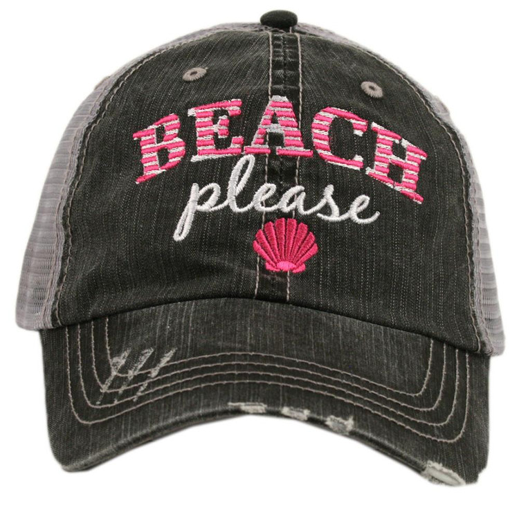 Beach Please Pink Adjustable Hat   ◦trucker caps are embroidered and have curved bill ◦distressed cap gives it a worn look ◦adjustable tab with mesh back ◦80% cotton and 20% polyester ◦one size fits most
