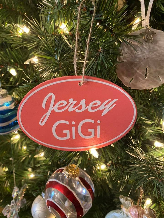 "Handmade oval pink Jersey GiGi ornament 3"" x 4.5"""