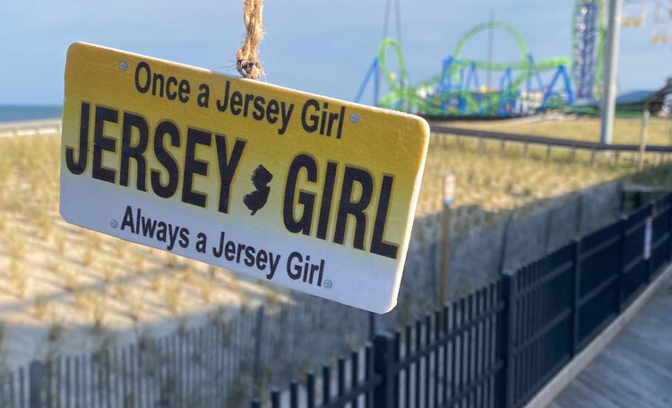 Handmade Jersey Girl License Plate Wood Ornament