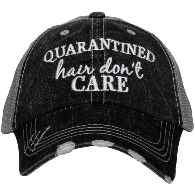 ◦trucker caps are embroidered and have curved bill ◦distressed cap gives it a worn look ◦adjustable tab with mesh back ◦80% cotton and 20% polyester ◦one size fits most