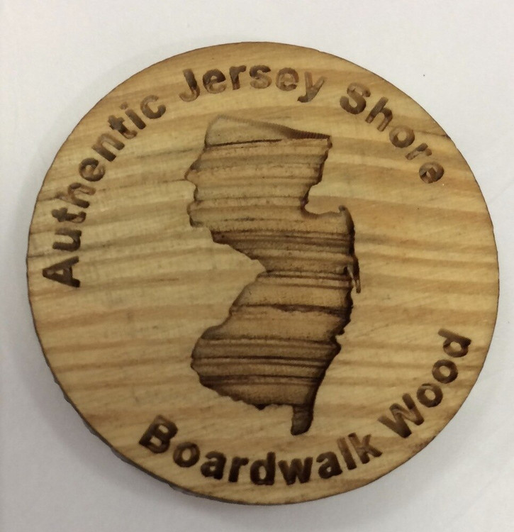 "1.5"" round magnet and is produced from wood that was salvaged from the Jersey Shore Boardwalk"