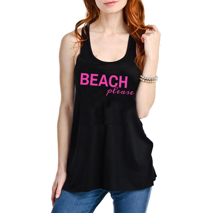 Beach Please Black Tank Top  •loose fitting tank top •65% polyester 35% viscose                   Color: Black