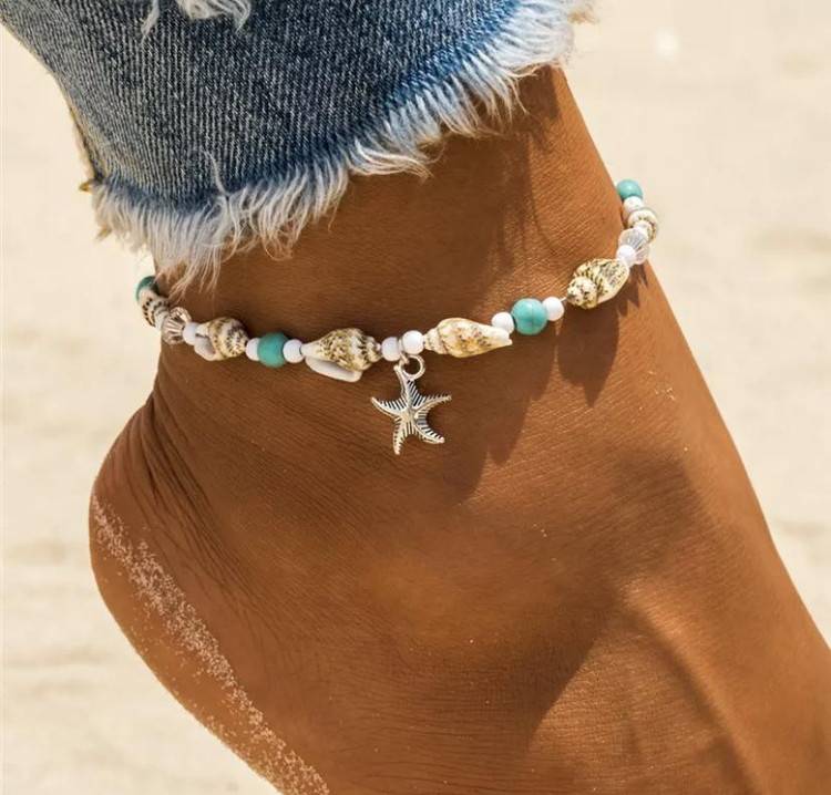 Shell & Beads Starfish Anklet