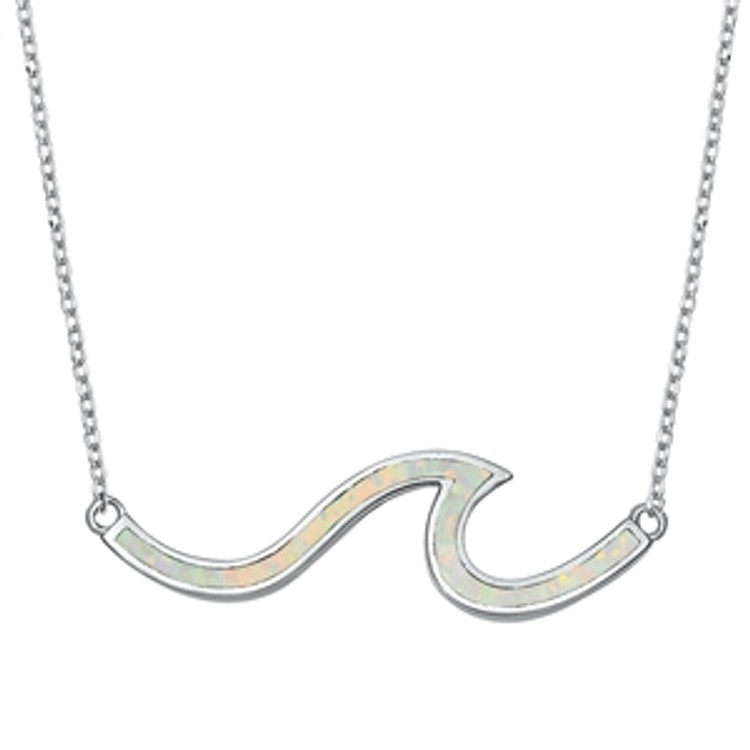 Pendant Height: 10 mm Chain Length: 16 inch + 1 inch extension Stone: White Lab Opal Metal Material: Sterling Silver