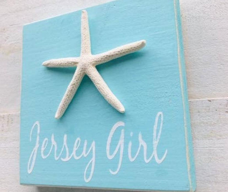 """This 5.5"""" x 5.5"""" x 3/4"""" is a shelf sitter - thick enough to stand on it's own propped up on a shelf- or it can easily be hung with the saw tooth hanger on the back. Great keepsake from the Jersey Shore."""