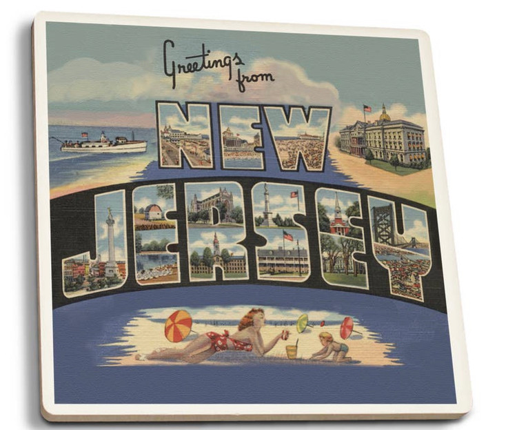 "Greetings From New Jersey  Key Features  Made of 100% natural sandstone Natural cork backing protects furniture 4"" diameter fits large drinking glasses Perfect for absorbing messy drips Made in the USA   Product Description From the beach to your table, Jersey 4 Sure Stone Coasters are an excellent fit for any environment. Made of 100% natural sandstone, these coasters are perfect for absorbing messy drips from the bottom of glasses, while also looking extremely stylish in any setting. The natural cork back helps protect furniture from damage. The 4"" diameter fits even larger drink glasses, meaning the Shore themed coasters are a great fit for your coffee cup or cocktail glass. Made in the USA."