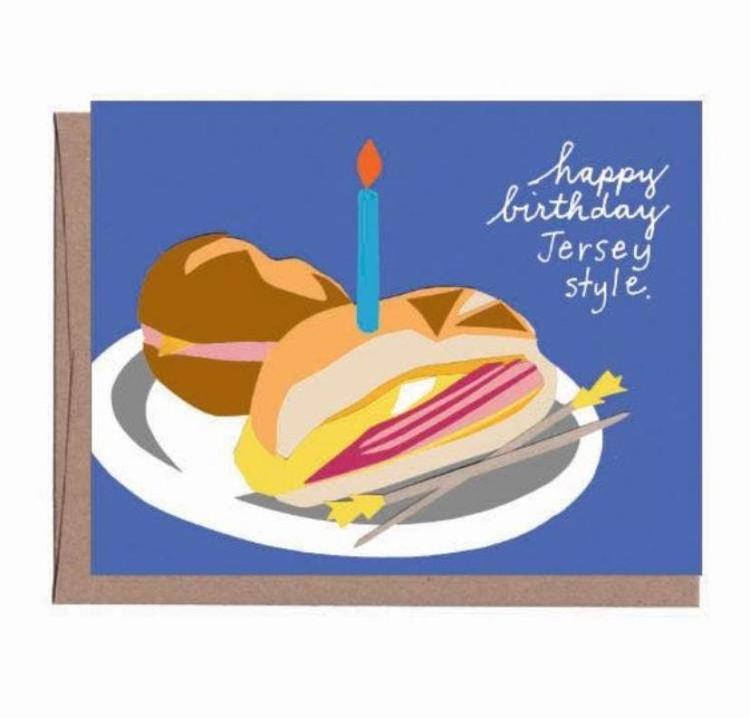 "Pork Roll / Taylor Ham Birthday Card  Happy Birthday, Jersey Style - by celebrating with a Taylor Pork Roll sandwich!  4.25'' x 5.5"" folded card with recycled kraft envelope.  Blank inside   Made in USA"
