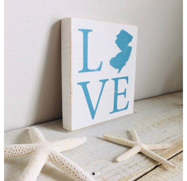 "This 5.5"" x 5.5"" x3/4 is a shelf sitter- thick enough to stand up on it's own propped up on a shelf - or it can easily be hung with the sawtooth hanger on the back. Great keepsake from the Jersey Shore!"