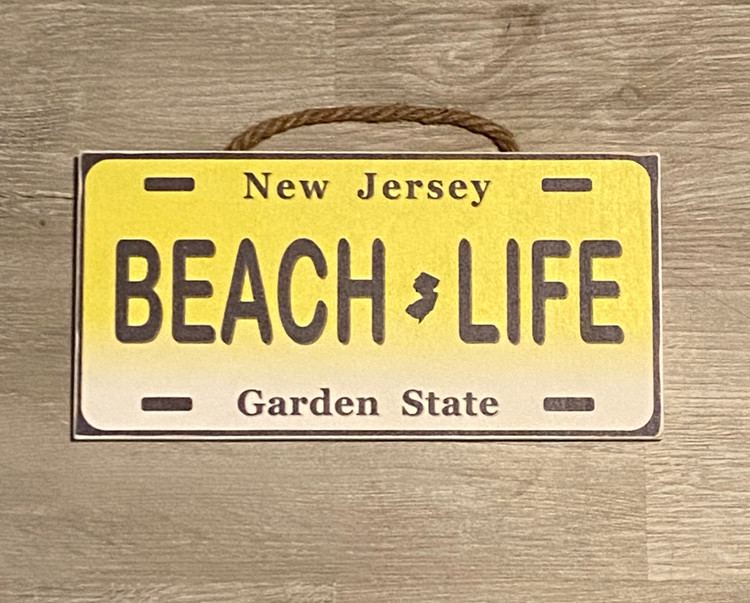 Beach Life License Plate Wood Sign