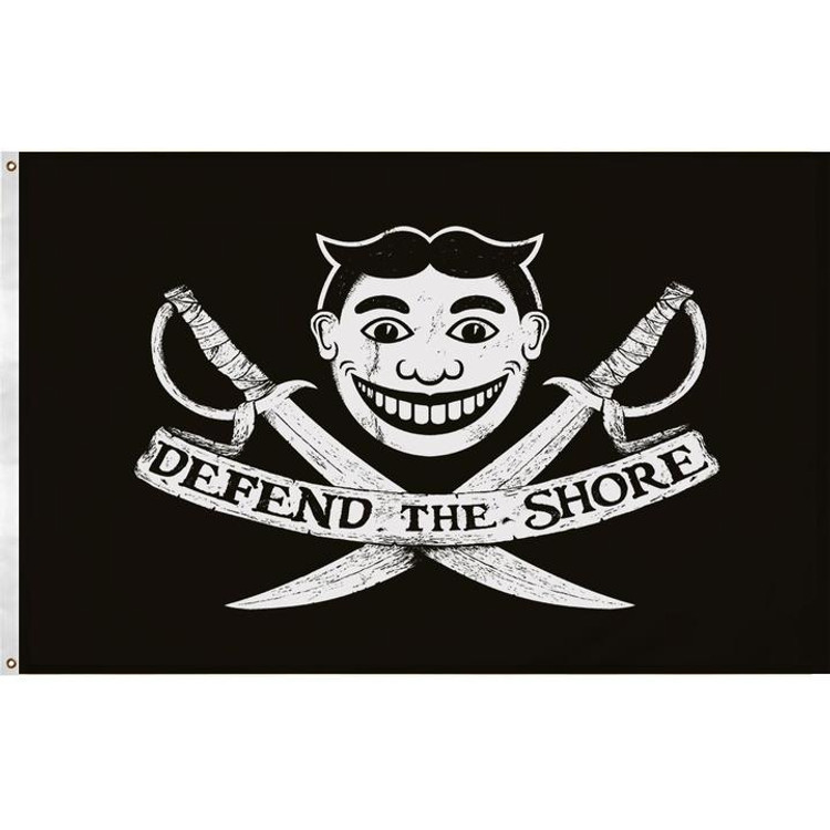 The unofficial flag of the coast - defend the shoreline!  This truly unique design is 5 x 3 feet, printed straight through to the reverse side and made from high quality outdoor polyester. It comes with two grommets pre-installed and is suitable for year round outdoor flying or as a compliment to any wall.