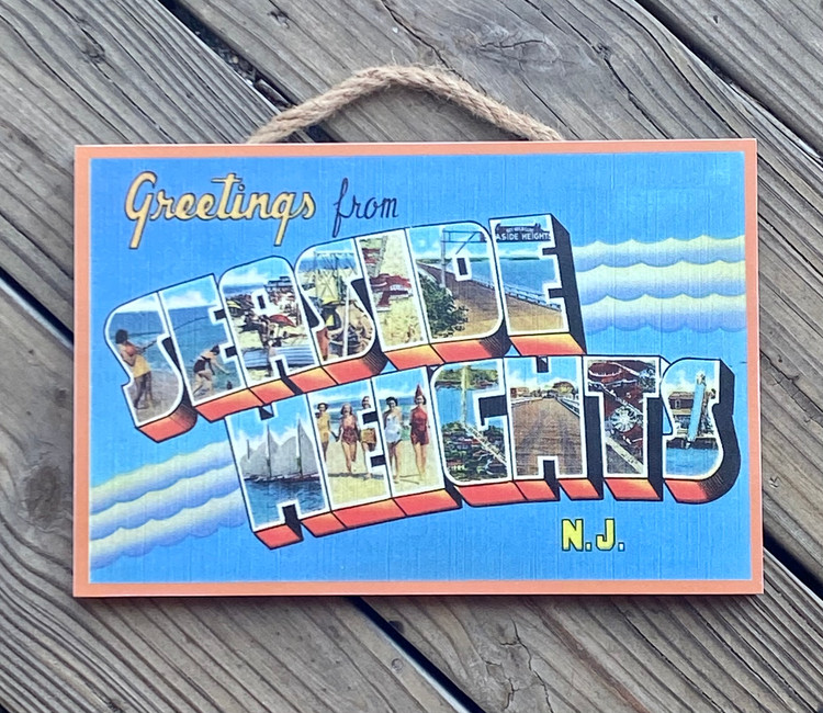 """Greeting From Seaside Heights Wood Sign 8"""" x 12"""""""