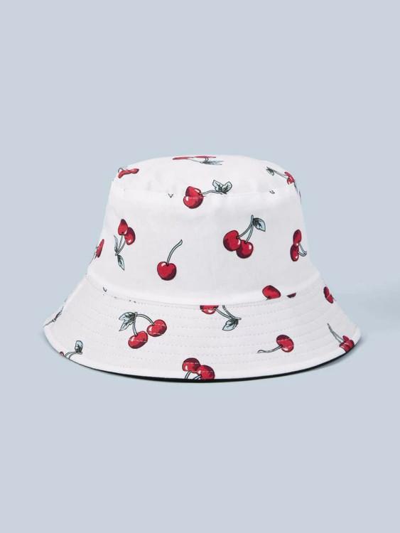 Cherry Bucket Hat (White)