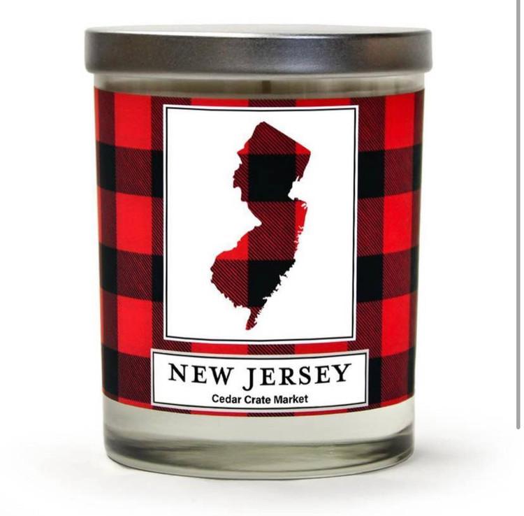 New Jersey Buffalo Plaid State Candle