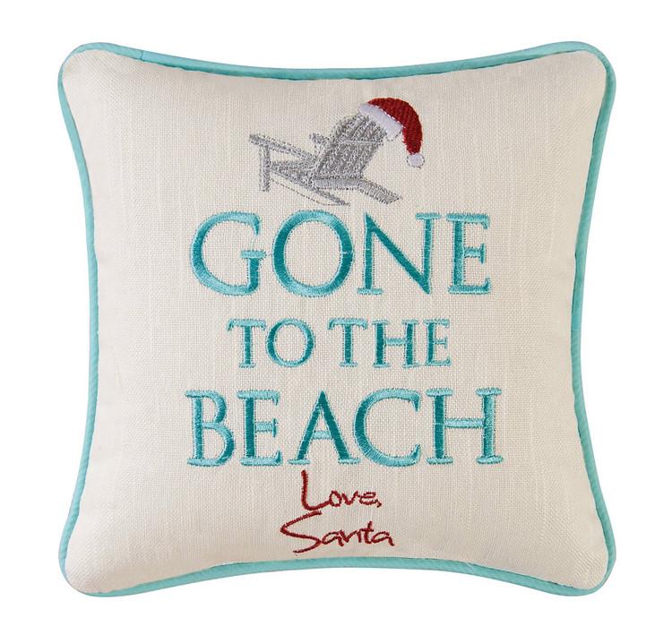 Gone To The Beach Love Santa 10 x 10 Pillow