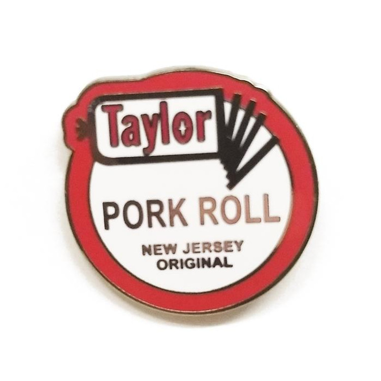 All hail New Jersey's great gift to the world - Taylor Ham Pork Roll (we'll leave the nomenclature to you).  This metal enamel pin measures approximately 1 inch tall and has a standard butterfly clasp backer.