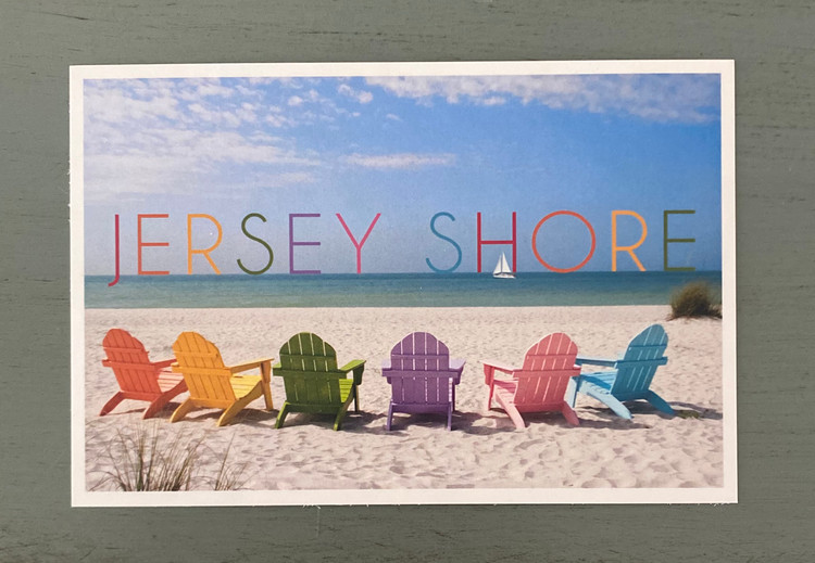 Jersey Shore Colorful Beach Chair Post Card