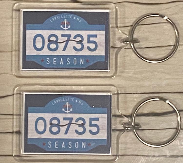 Lavallette Beach Badge Keychain
