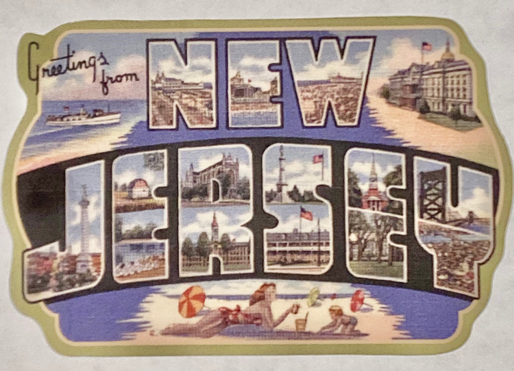 """Greeting From New Jersey Sticker 3"""" x 4"""""""