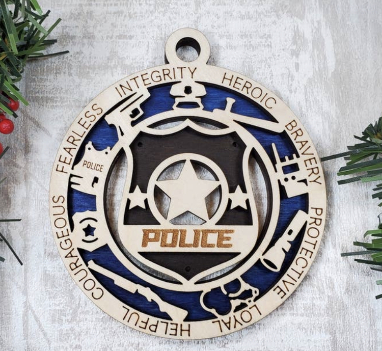 Police Wood Ornament