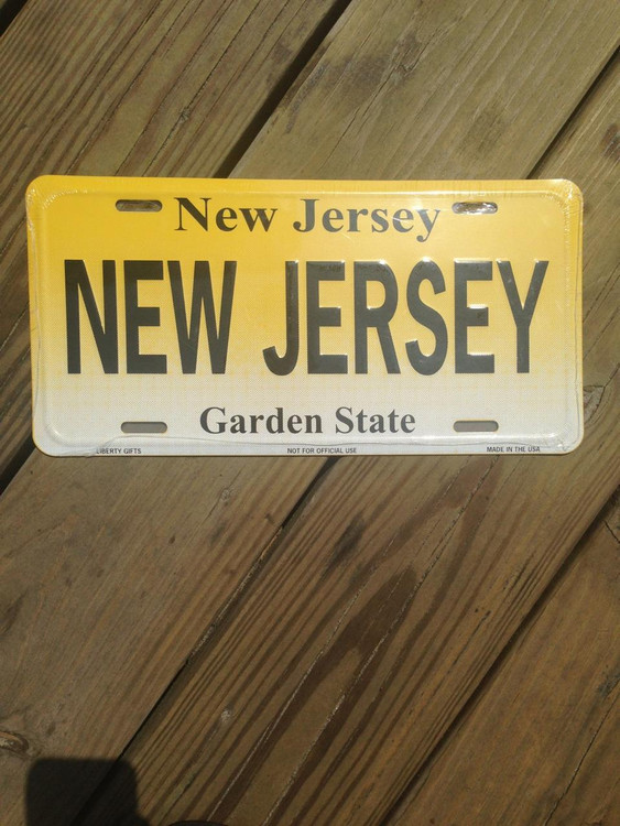 New Jersey Standard Car Size License Plate