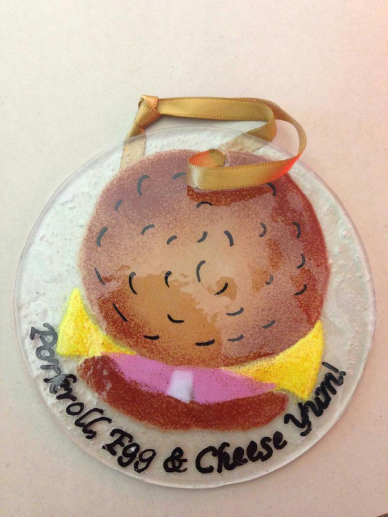 Pork Roll Egg and Cheese Handmade Ornament/Sun Catcher