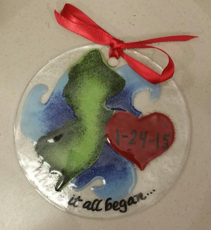 *Custom* Jersey Heart Handmade Ornament/Sun Catcher