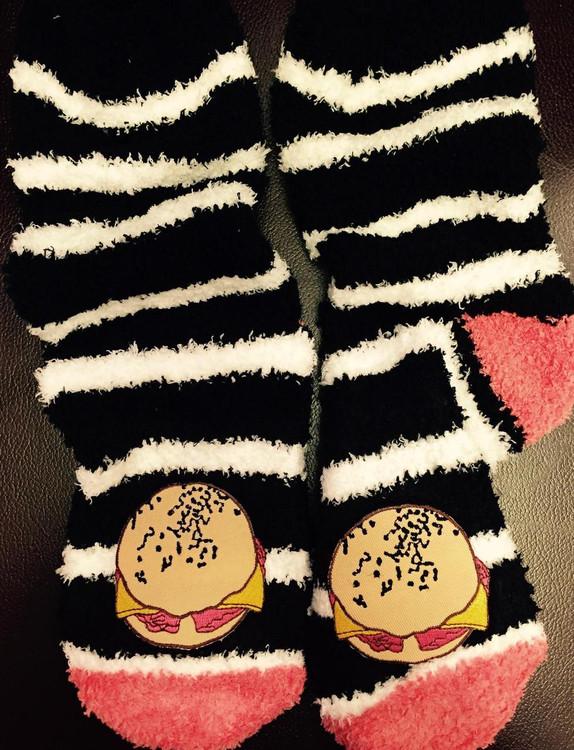 Pork Roll Ladies Fuzzy Socks