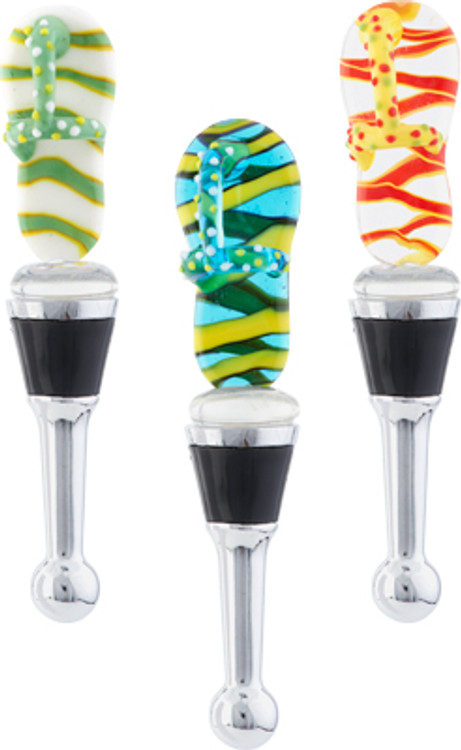 Flip Flop Glass Globe Wine Stopper