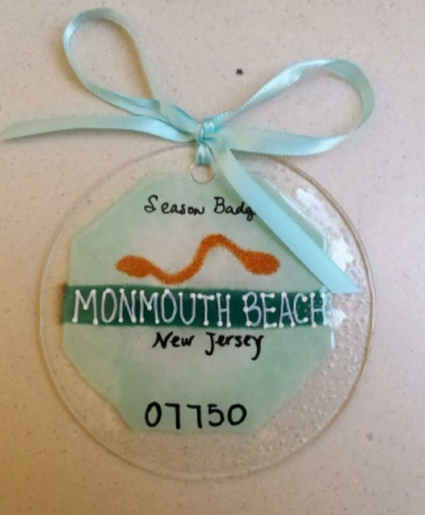 Monmouth Beach Badge Handmade Ornament/Sun Catcher