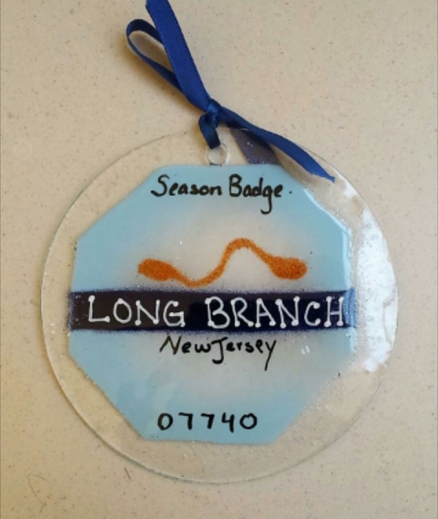 Long Branch Beach Badge Handmade Ornament/Sun Catcher